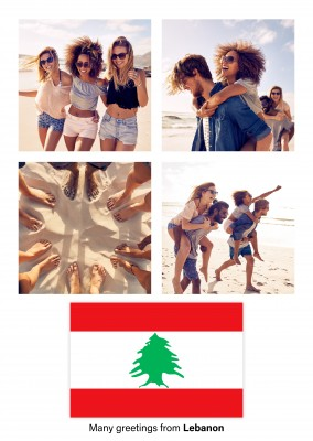 Postcard with flag of Lebanon