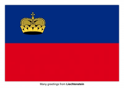 Postcard with flag of Liechtenstein