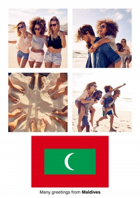 Postcard with flag of Maldives
