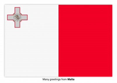 Postcard with flag of Malta
