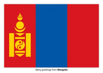 Postcard with flag of Mongolia