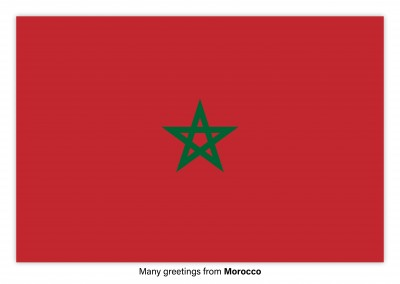 Postcard with flag of Morocco