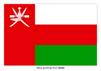 Postcard with flag of Oman