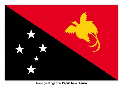 Postcard with flag of Papua New Guinea