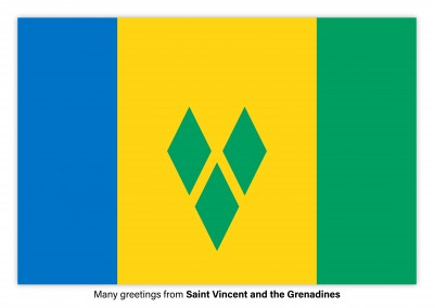 Postcard with flag of Saint Vincent and the Grenadines