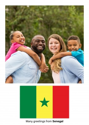 Postcard with flag of Senegal