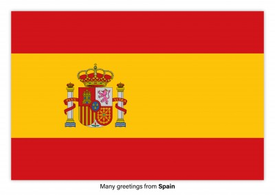 Postcard with flag of Spain