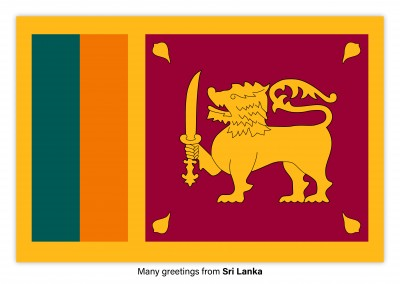 Postcard with flag of Solomon Sri Lanka
