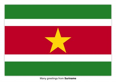 Postcard with flag of Suriname