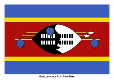 Postcard with flag of Swaziland