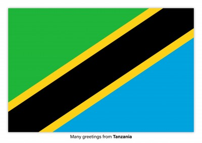 Postcard with flag of Tanzania