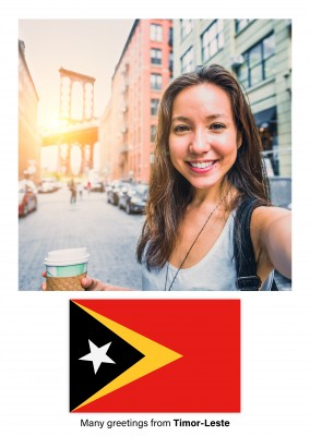 Postcard with flag of Timor-Leste