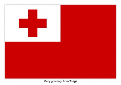 Postcard with flag of Tonga