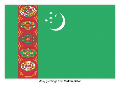 Postcard with flag of Turkmenistan