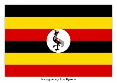 Postcard with flag of Uganda
