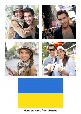 Postcard with flag of Ukraine