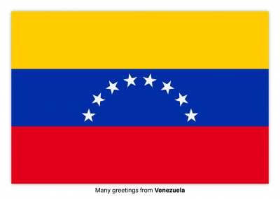 Postcard with flag of Venezuela