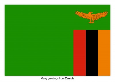 Postcard with flag of Zambia