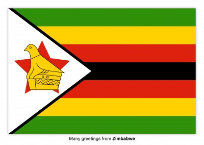 Postcard with flag of Zimbabwe