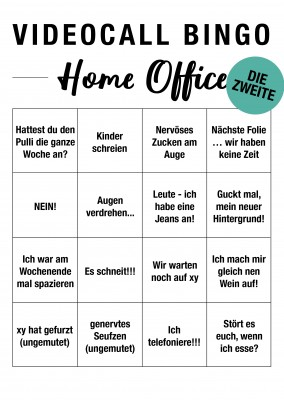 Videocall Bingo Home Office