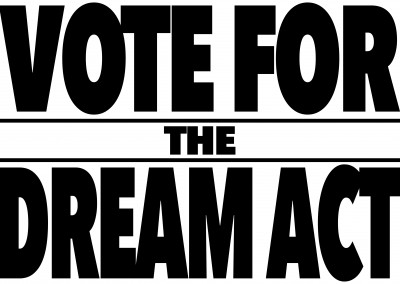 Vote for the dream act black and white lettering