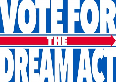 Vote for the dream act blue, red and white lettering