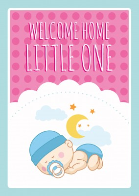 Welcome Home Little One-Lettering with a babyboy on a pink background