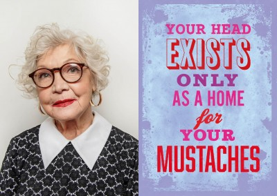 Vintage Spruch Postkarte: Your head exists only as a home for your mustaches