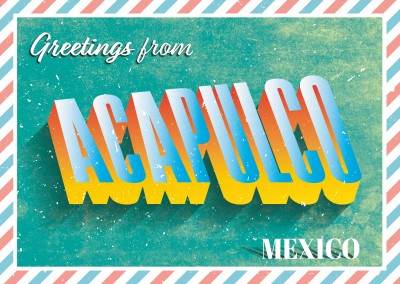Retro postcard Acapulco