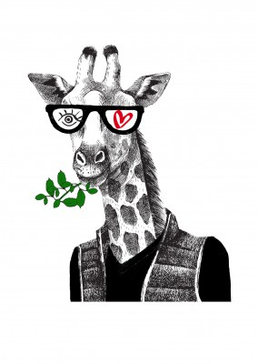 illustratie Eye-love giraffe