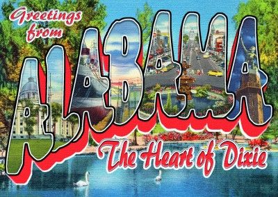 Alabama Retro Style Postcard