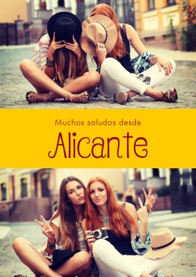 Alicante Spanish greetings in country-typical colouring & fonts