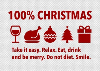 100 percent Christmas title in red followed by graphics of Christmas 'ingredients' and a message