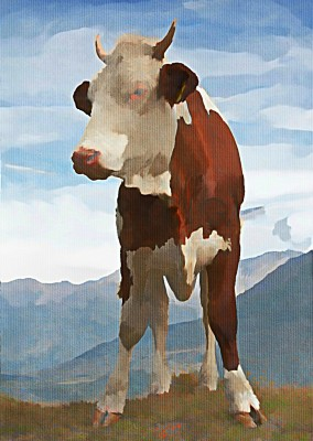Kubistika cow in the mountains