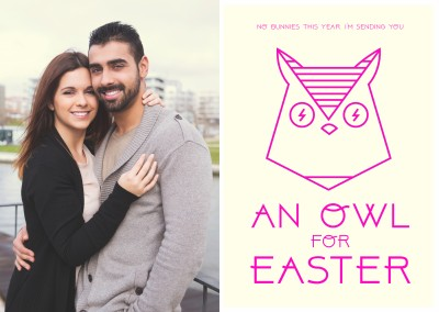 yellow card with pink owl