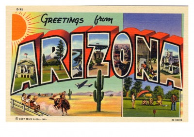 Curt Teich carte Postale de la Collection des Archives salutations de l'Arizona