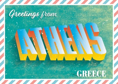 Retro postcard Athens, Greece