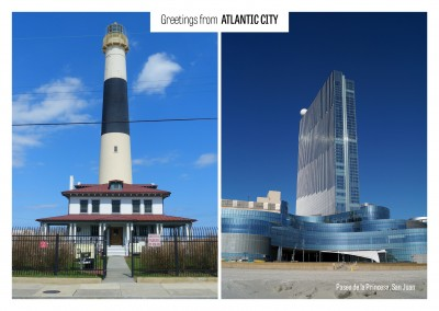 Fotocollage Atlantic City Leuchtturm Casino