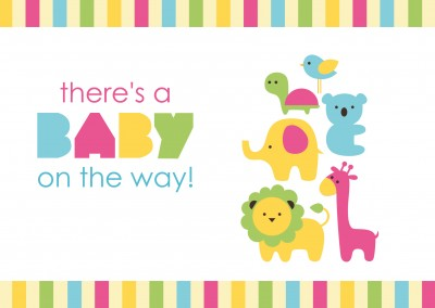 There's a baby on the way-Lettering with colourful animals