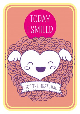 Today I smiled for the first time- Lettering on orange background