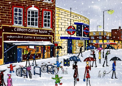 Illustration South London Artist Dan Balham snow cafe