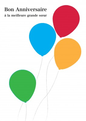 Birthday card multicoloured balloons