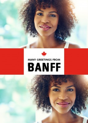 Banff greeting in Canadian flag style