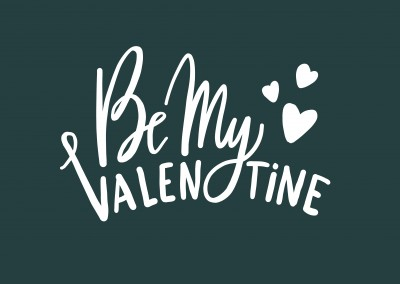 Be my Valentine - Handwritten on a green background