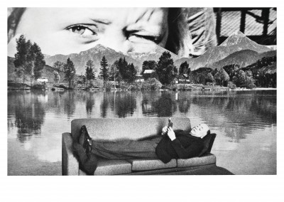 surrealistic black and white collage by belrost read a book