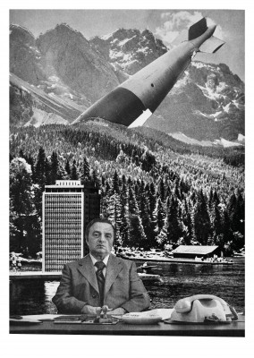 Belrost surrealistic collage customized office wallpaper