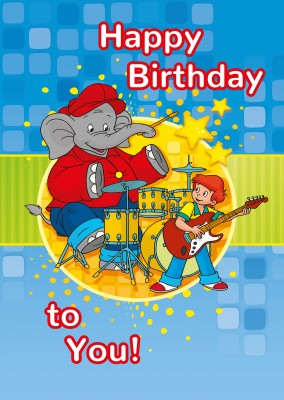 illustration Benjamin the elephant and Otto playing drums and guitar