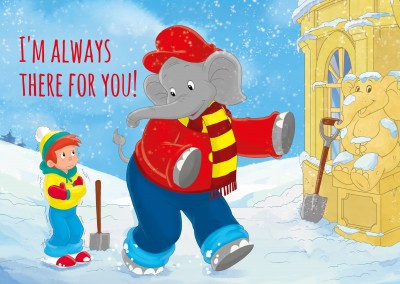 illustration Benjamin the elephant with Otto outside in the snow