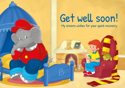 illustration Benjamin the elephant with Otto in his room