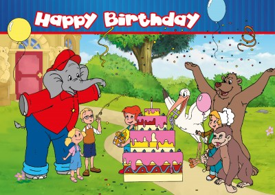 illustration Benjamin the elephant clebrating birthday with friends in front of his house
